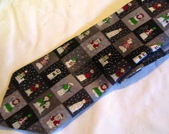 "Christmas Tie 3 3/4"" Snowman Family Squares Elvis Santa Wedding Couple Necktie"