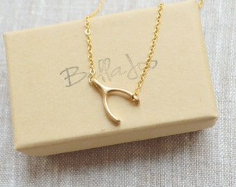 Gold side wishbone necklace A-010
