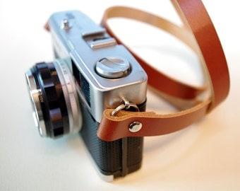 Handmade Leather Camera Neck Strap - Tan