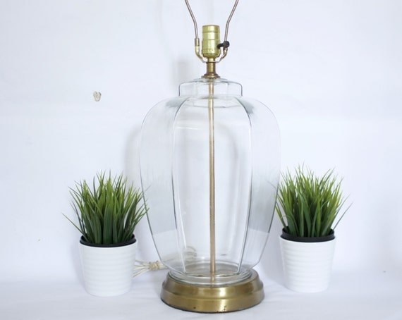 clear glass vintage fillable table lamp mid century. Black Bedroom Furniture Sets. Home Design Ideas