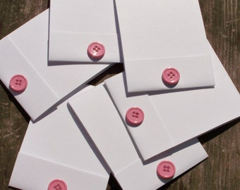 6 pink button notebooks, stampable notebooks, birthday party favors, small gifts, class handouts
