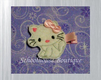 White Kitty Cat Felt Hair Clips, Felties, Feltie Hair Clip, Felt Hairbow, Felt Hair Clip, Felt Hair Clippie, Party Favor