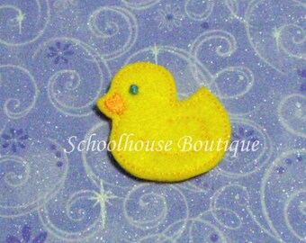 Duck felties, feltie, machine embroidered, felt applique, felt embellishment, hair bow supplies