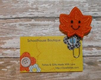 Happy Leaf felt paperclip bookmark, felt bookmark, paperclip bookmark, feltie paperclip, christmas gift, teacher gift