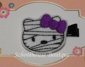 Mummy Kitty Cat with Purple Bow Felt Hair Clips, Felties, Feltie Hair Clip, Felt Hairbow, Felt Hair Clips, Felt Hair Clippie