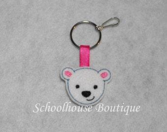 Polar Bear Felt Zipper Pull, Felt Keychain Fob, Felt Key Ring, Felt Key Fob, Purse Accessory, Luggage Tag