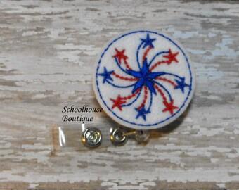 July 4th Spinning Star felt badge reel, name badge holder, nurse badge, ID holder, retractable badge clip, feltie badge reel