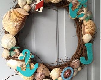 Seashell nautical wreath