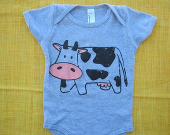 Ready to Ship -COW one-piece, American Apparel BABY Onesie, 12-18 mos