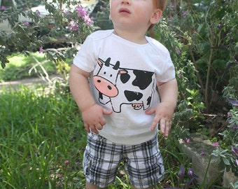 COW print, American Apparel BABY Lap T-shirt or Onesie, 3-24 mos