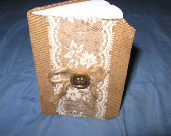 handmade covered small journal / notebook embellished with vintage lace and button