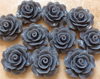 10 pcs 19 mm Gray Cabochon Flowers,grey Rose cabochon,Gray Rose resin flower,19 mm gray flower,Gray resin flower,gray rose flower,grey rose