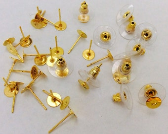 Nickel Free...100 sets 6 mm Golden  Earring Post with back,Golden Earring Blank,golden earring setting,golden earring post,golden ear nut