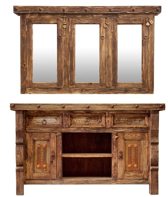 Rustic Vanity With Matching Medicine Cabinet By Foxdendecor