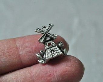 20pcs Antique Silver Castle Charm Pendant Windmill 18x16mm K731
