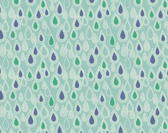 Lewis & Irene April Showers Patchwork Quilting Fabric - A73.3 Raindrops on Aqua