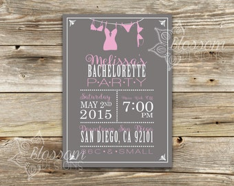Bachelorette Party Invitation - Girls Weekend - Lingerie Shower Invitation