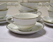 Vintage Noritake Derry Cup and Saucer set of 14 pieces White Silver Platinum Japan Bridal Baby Shower Panchosporch