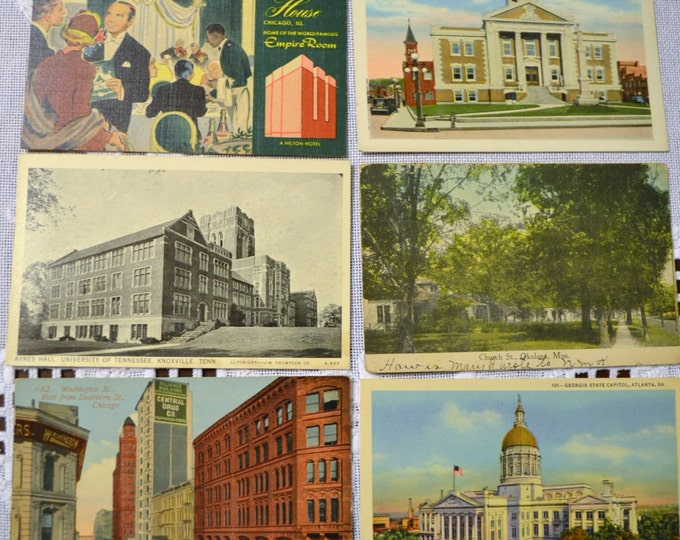 Vintage Postcard Set of 6 Tennessee Georgia Chicago Mississippi Various Travel Souvenirs PanchosPorch