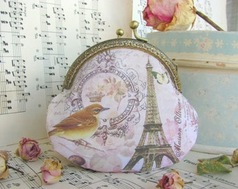 Coin purse clutch with Eiffel tower