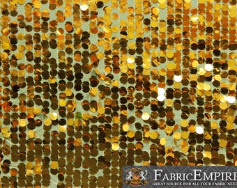 """Sequin NEW Paillette Glossy Dangle Mesh GOLD Fabric / 52"""" W / Sold by the yard"""