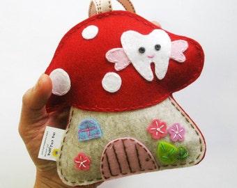 Toadstool - Tooth Fairy pillow 100% pure wool felt, Perth Australia