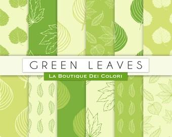 Light Green leaves digital paper. Nature, forest, spring, summer leaf backgrounds patterns leaves scrapbook paper for commercial use clipart