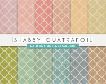 Quatrefoil Digital paper, Shabby Quatrefoil paper. vintage grungy background.  printable, Commercial Use pink, red, green, blue