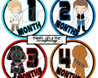 Baby Monthly Stickers Star Jedi Month Stickers Space wars Month Stickers Boy Milestone Stickers Baby shower Gift Infant Month decals