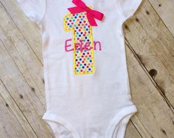 Polka dot first birthday outfit, 1st  birthday - Polka dot,  Baby Girl , 1st Birthday  girl