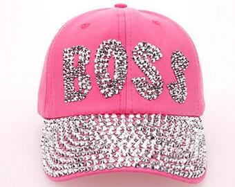 Pink Rhinestud Boss Cap