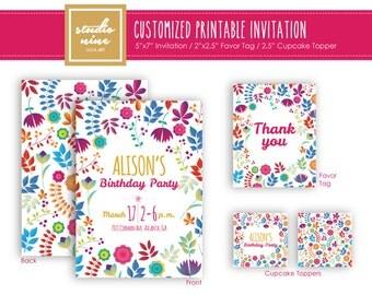 Printable Customized Invitation - Flowers