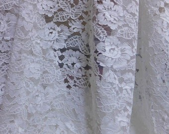 Off-White Fabric Alencon Embroidered Fabric Wedding Gown Bridesmaid Dress Fabric one yard