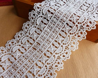 "Retro Crochet Lace Off-white Lace Trim Wide Cotton Fabric Lace 4.92"" wide one yard"
