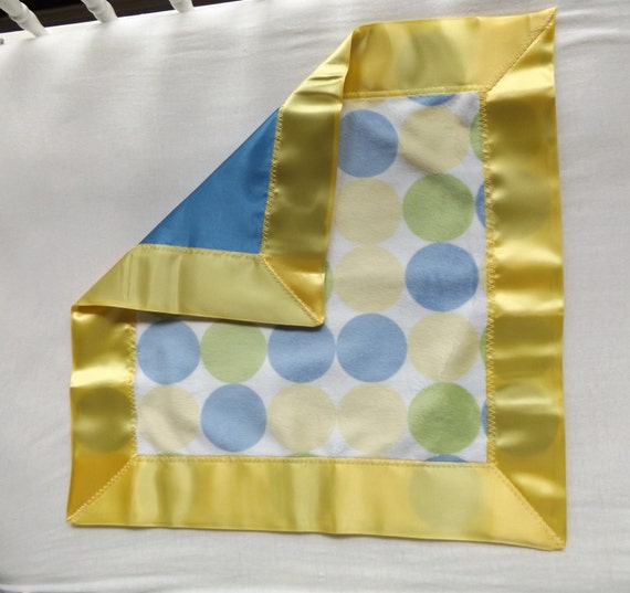 Blue Satin And Dot Minky Toddler Quilt With Satin Binding