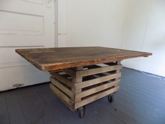 Reclaimed Wood Coffee Table Repurposed Hinged By Theretrotrove