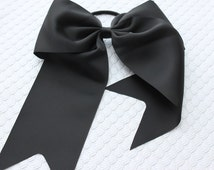 Black cheer bow - CHOOSE COLOR - hair accessories - cheer bow with pony holder - big cheer bow - ponytail bow - pony hair bow - sport bow