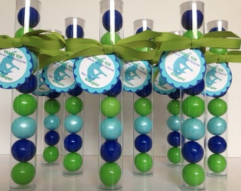 JUMPING, Bounce, Trampoline Party Favor Gumball Tube Party Favors, Set of 12, with Personalized Tags and ribbon
