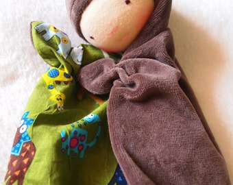 Waldorf doll for babys, sleeping,fluffy, cloth doll, teething doll, baby shower gift -ready to ship