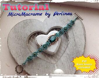 DIY Micro Macrame Beginners Tutorial Bracelet Pattern with Chrysocholla