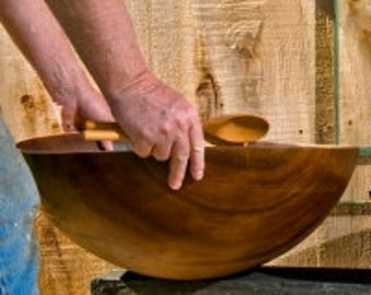 Extra Extra Large Wood Salad Bowl Heirloom Quality Cherry Feeds a Crowd (20 Servings) | Solid Cherry Bowl