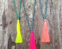 Best Selling Boho Chic Tassel Necklace ~ Summer Neon Colors ~ Mala Calming Necklace ~ Aqua ~ Turquoise Howlite Stone Beads ~ Bohemian Boho
