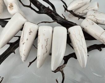Full Strand 42pcs 31x10mm Ivory Howlite Magnesite Horn Tooth Beads Howlite Tusk Beads