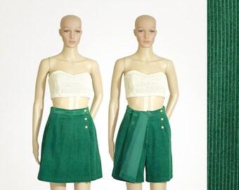 green corduroy skort retro 80s 1980s highwaisted emerald green shorts by David HOLLIS vintage bermuda size girls LARGE womens XSMALL