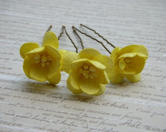 Hair Pins - Yellow Cherry Blossom Flower Hair Pins - Set of 3