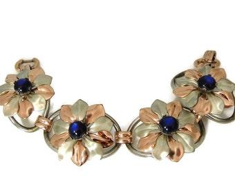Kreisler Blue Moon Glow Flower Bracelet BIG Bold Vintage
