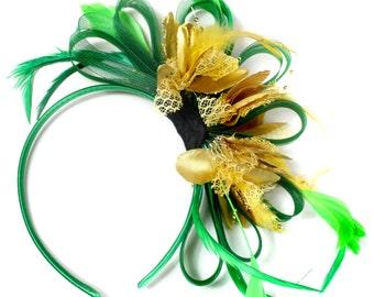 Emerald Green & Gold Feathers Fascinator on Headband