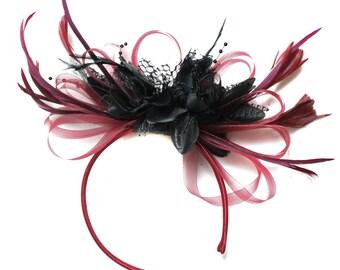 Burgundy Wine Red & Black Fascinator on Headband