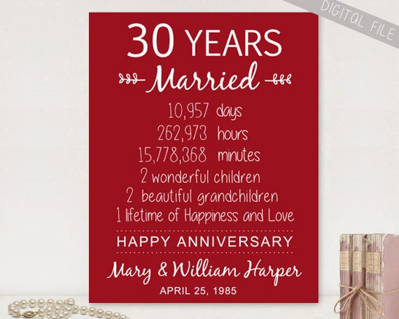 Gift For 30 Wedding Anniversary: Personalized 30th Anniversary Gift For Parents Custom 30th