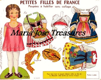 Vintage French Paper Dolls 1 - Digital Download